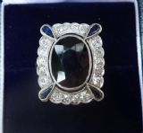 Wonderful all platinum art deco 7.50ct sapphire and diamond antique ring